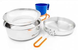 Набор посуды GSI outdoors Glacier Stainless 1 Person Mess Kit сталь